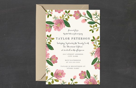 blush bouquet bridal shower template invitations