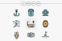Flat line color nautical vector icon