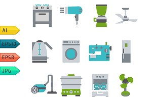 Domestic Equipment colored icons.