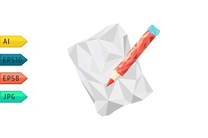 Polygonal Pencil Icon.