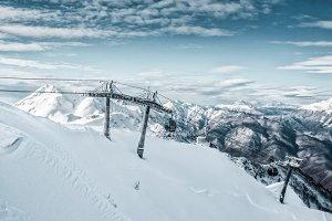 Winter Mountain Landscape, Cableway
