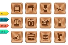 Buttons with home equipment icons.