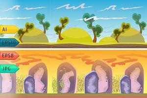 Cartoon vector seamless landscape.