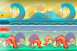 Cartoon vector seamless landscape.