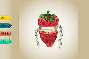 Strawberry with heraldic ribbon.