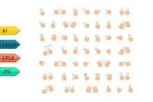 Hand finger gesture vector icon set.