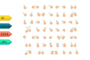 Hand finger gesture vector icon set.