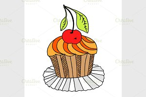 vector of hand drawn cake