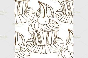 seamless pattern cupcakes.
