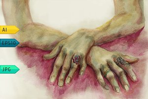 Water-colour drawing of humans hands