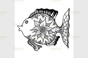 Hand drawn vector fish