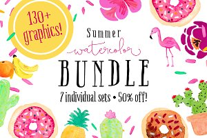 Mega Summer Watercolor Bundle
