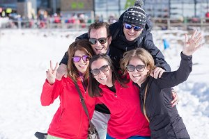 Family and friends at ski resort