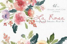 La Rosa- Watercolor Floral Set