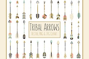 28 Tribal Arrows Vector Clipart