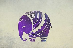 Cute Baby Elephant Space. Vector