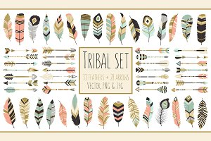59 Arrows & Feathers Tribal Clipart