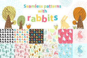 Cute seamless patterns with rabbits