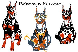 Dog Doberman Pinscher SET