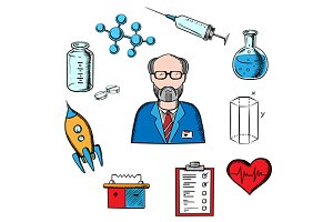 Sciences and research icons