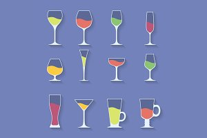 Icon set of alcohol glasses