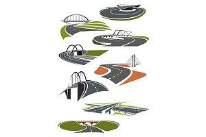 Icons of roads with bridges
