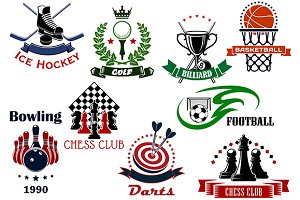 Sport emblems, icons and symbols