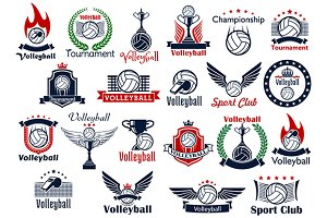 Volleyball sport game icons, symbols
