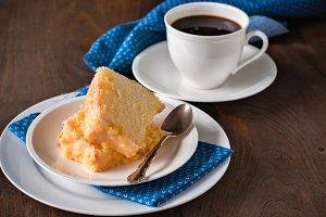 Chiffon cake with orange zest icing