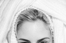 Blonde fashion woman in white coat art portrait