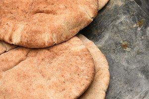 Pita Bread on Gray Slate