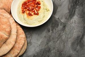 Edamame Hummus and Pita Bread