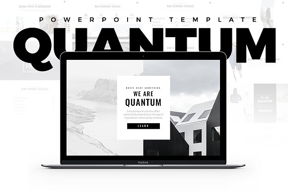 quantum minimal powerpoint template presentation templates creative market. Black Bedroom Furniture Sets. Home Design Ideas