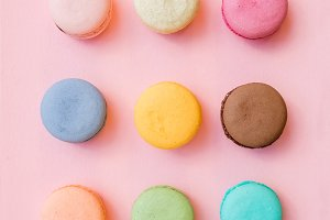Colorful French macaroon biscuits
