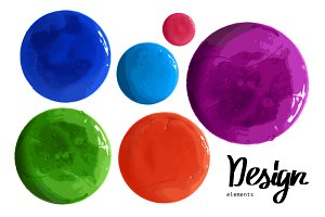 Colorful watercolor paint circles