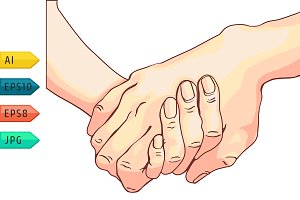 Handshake of two people.