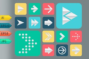 Set of papper arrow icons.