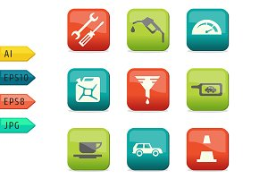 Fuel and transport colored icons.