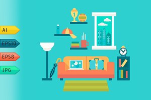 Flat vector illustration of home.