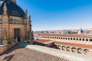 Aerial view of the historic city of Salamanca at sunrise, Castilla y Leon region, Spain