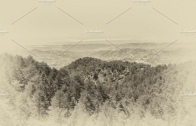 Retro stylized picture. Troodos. Cyprus summer landscape panorama. High angle view. - Nature