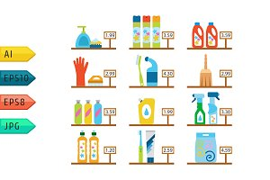 Vector cleaning products flat icons.