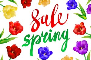 Spring Sale Banner, colorful tulips