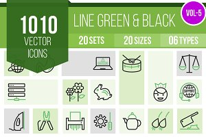 1010 Line Green & Black Icons