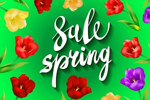 green Spring Sale colorful tulips