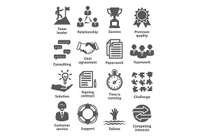 Business management icons. Pack 10