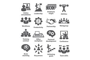 Business management icons. Pack 11