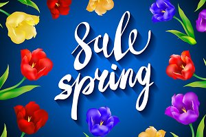 blue. Spring Sale colorful tulips