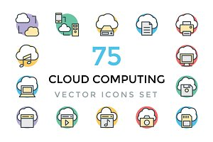 75 Cloud Computing Vector Icons