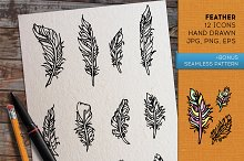 Feathers. Hand drawn set.